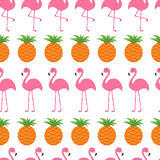 Seamless Pattern Wrapping paper, textile template. Pineapple Pink flamingo set. Exotic tropical bird. Zoo animal kids collection. Stock Photos