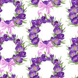 Seamless pattern from wreath of purple crocus Royalty Free Stock Photos