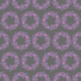 Seamless pattern with wreaths of purple and pink flowers on a grey background. Seamless pattern with wreaths of purple, violet and pink flowers on a grey Stock Photo