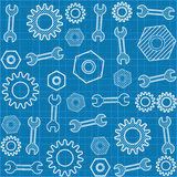 Seamless pattern with a wrench and  gears. Stock Image