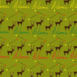 Seamless pattern with writing stag and arrow for hunters.  Royalty Free Stock Photos