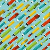 Seamless pattern with writing utensils. Royalty Free Stock Image