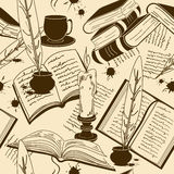 Seamless pattern of writting attributes and books Royalty Free Stock Images