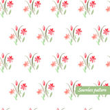 Seamless pattern with wterolor bouquet. Of pink fowers Royalty Free Stock Photo