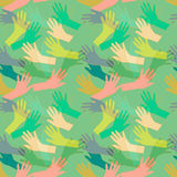 Seamless pattern wtih hands. Hand drawn seamless pattern with colorful hands silhouettes Royalty Free Stock Photography