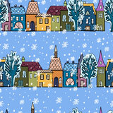 Seamless pattern with xmas design. Illustration with Christmas elements. Decorative background Royalty Free Stock Photo