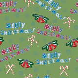 Seamless pattern with xmas design. Illustration with Christmas elements. Decorative background stock illustration