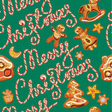 Seamless pattern with xmas gingerbread  Stock Photos