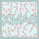 Seamless pattern Xmas letters and cane candies