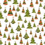 Seamless pattern with xmas trees Royalty Free Stock Photo