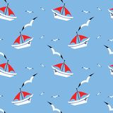 Seamless pattern. With yacht on sea and seagull vector illustration