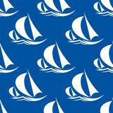 Seamless pattern of yachts and sailing ship Royalty Free Stock Image