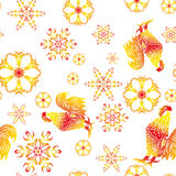 Seamless pattern - Year of fiery cock Royalty Free Stock Photos