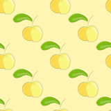 Seamless pattern yellow apple with green leaf. Stock Images