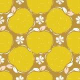 Seamless pattern of yellow apple sketch Stock Photos