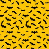 Seamless pattern yellow background with black endless bat on halloween festive Stock Photos