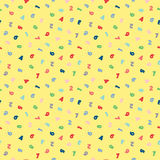 Seamless pattern with yellow background and colorful numbers. Pattern for children. Vector illustration. Royalty Free Stock Photography