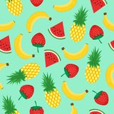 Seamless pattern with yellow bananas, pineapples, watermelon and strawberries on mint green background. Summer fruit mix. Illustration. Colorful cute tropical stock illustration