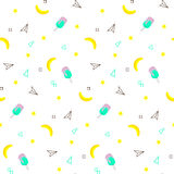 Seamless pattern with yellow bananas and watermelon, ice cream on white background. Memphis vector background. Bright vector illustration