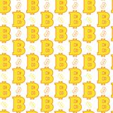 Seamless Pattern Yellow Bitcoins Signs On White Background  Stock Images