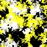 Seamless pattern of yellow and black watercolor blots. For background stock illustration