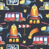 Seamless pattern of yellow-blue car, red bus, rocket, stars. Watercolor illustration. Seamless pattern of yellow-blue car, red bus, rocket, stars, helicopter and Stock Photo