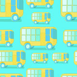 Seamless pattern yellow bus childhood on a blue background.  Royalty Free Stock Photography