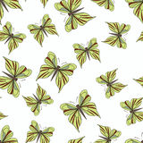 Seamless pattern with yellow butterflies on the white background Royalty Free Stock Photography