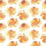 Seamless pattern of yellow chrysanthemum flowers Stock Image