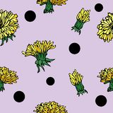 Vector hand-drawn flower seamless pattern with dandelion and points stock illustration