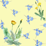 Seamless pattern yellow dandelions and wild small blue flowers on a yellow background. Watercolor. Royalty Free Stock Image