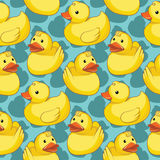 Seamless pattern with yellow ducks. Stock Image