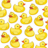 Seamless pattern with yellow ducks. Stock Photo