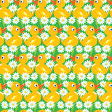 Seamless Pattern with yellow ducks, childish background Stock Photo