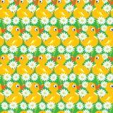 Seamless Pattern with yellow ducks, childish background Stock Photo
