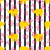 Pattern with yellow elephants. Seamless pattern with yellow elephants and pink flowers on the background of black stripes vector illustration