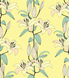 Seamless pattern with yellow flower. Seamless pattern background with light yellow lily royalty free stock image