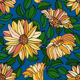 Seamless pattern with yellow flower Stock Photography