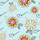 Seamless pattern with yellow flowers Stock Photo