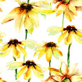 Seamless pattern with yellow flowers Royalty Free Stock Image