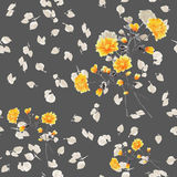 Seamless pattern of yellow flowers and branches on a deep gray background. Watercolor stock images
