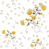 Seamless pattern of yellow flowers and branches on a white background. Watercolor stock photos