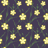 Seamless pattern with yellow flowers on dark blue background. Vector illustration. Royalty Free Stock Images