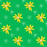 Seamless pattern with yellow flowers on green background. Pattern spring yellow wildflowers. Graphic texture with buttercups. Sketch pattern for print on Royalty Free Illustration
