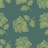Seamless Pattern with yellow Flowers on green Background Stock Photos