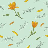 Seamless pattern with yellow flowers vector illustration