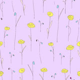 Seamless pattern with yellow flowers. Purple background with stylized roses. Royalty Free Stock Images