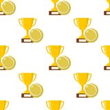 Trophy Cup and Tennis Ball Seamless Royalty Free Stock Photo