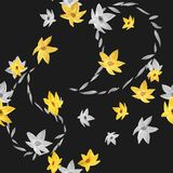 Seamless pattern of yellow and gray flowers with gray outlines of paisley on the black background . Watercolor. Seamless pattern of wild yellow and gray flowers Royalty Free Stock Image