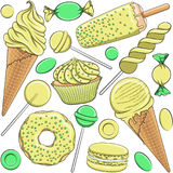 Seamless pattern with yellow and green sweets. Isolated vector objects on white background Royalty Free Stock Photos